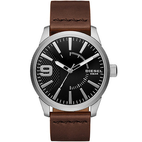 Fossil - Men+s brown chronograph dial cuff strap watch