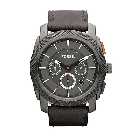 Fossil - Men+s black leather strap oversized chronograph dial watch