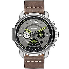 Diesel - Gents Whiplash gunmetal case and grey leather strap watch