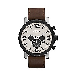 Fossil - Men's brown chronograph dial leather strap watch