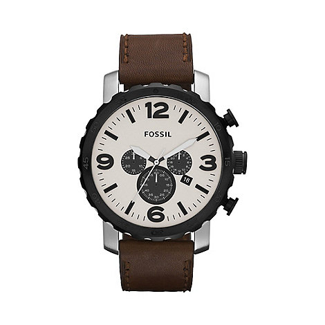 Fossil - Men+s brown chronograph dial leather strap watch jr1390