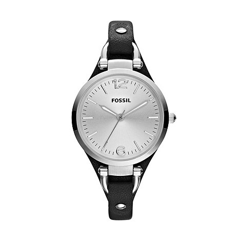 Fossil - Ladies black thin leather strapped watch