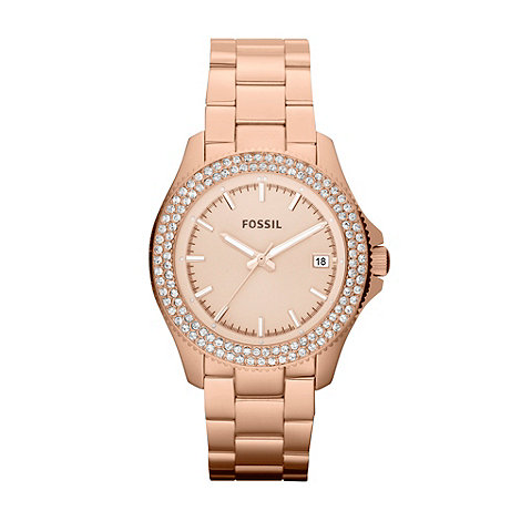 Fossil - Ladies bronze two-row diamante bezel watch