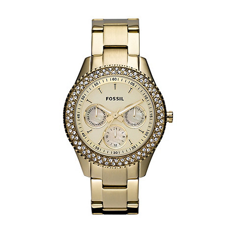 Fossil - Ladies gold pavi bezelled multi dial watch