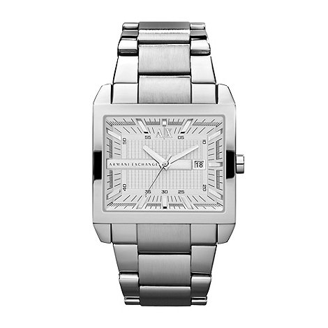 Armani Exchange - Men+s silver stainless steel rectangular dial bracelet watch