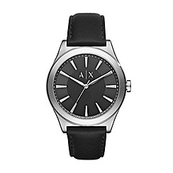Armani Exchange - Mens Steel and black leather strap watch