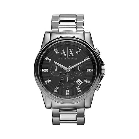 Armani Exchange - Men+s dark silver stone watch