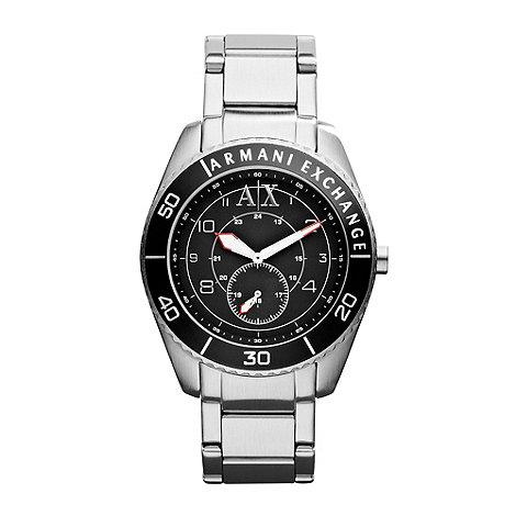 Armani Exchange - Men+s black round dial bracelet watch