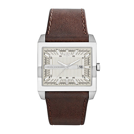 Armani Exchange - Men's brown leather 'east meets west' rectangular watch
