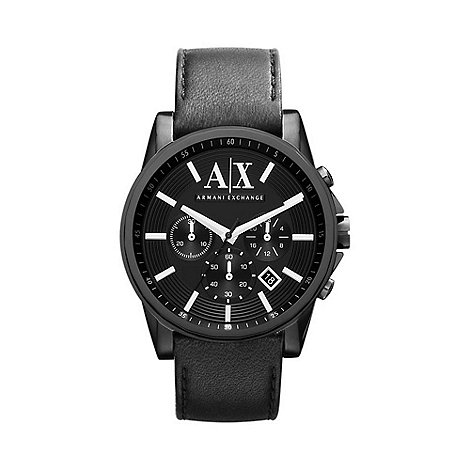 Armani Exchange - Men+s black matte leather chronograph watch