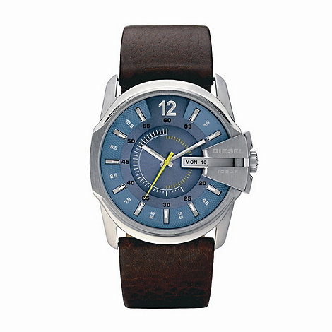 Diesel - Unisex brown contrasting dial leather strap watch