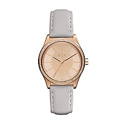 Armani Exchange - Ladies Rose and grey leather strap watch