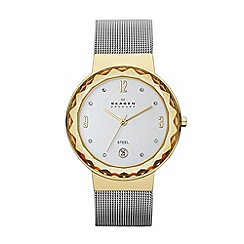 Skagen - Ladies silver and gold mesh strap watch