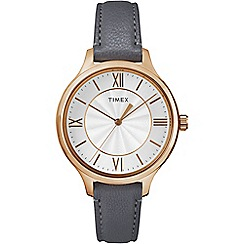 Timex - Ladies Style white dial with grey leather strap watch