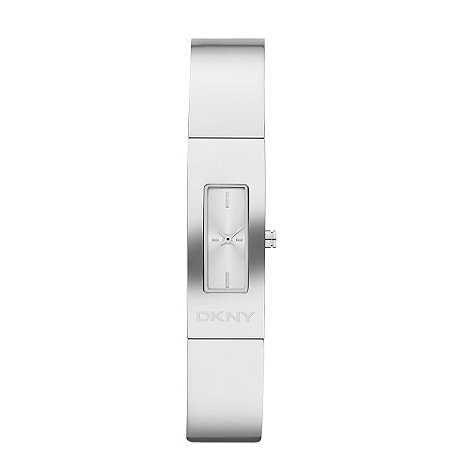 DKNY - Ladies silver brushed rectangular dial bangle strap watch
