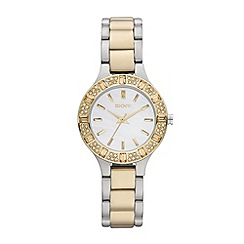 DKNY - Ladies silver and gold mixed plated diamante bezel watch