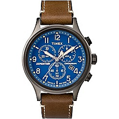 Timex - Mens Expedition Scout chronograph blue dial with brown leather strap watch