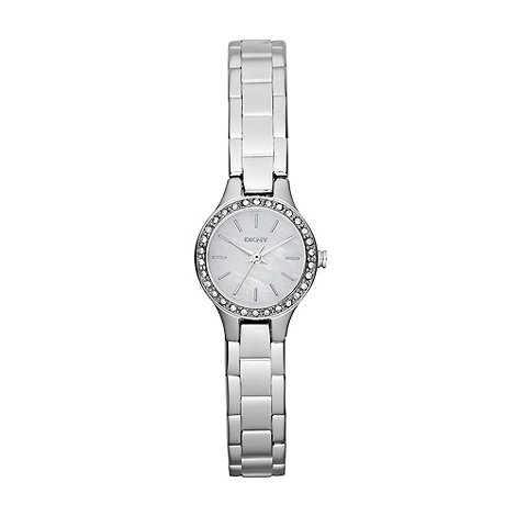 DKNY - Ladies silver mother of pearl diamante watch