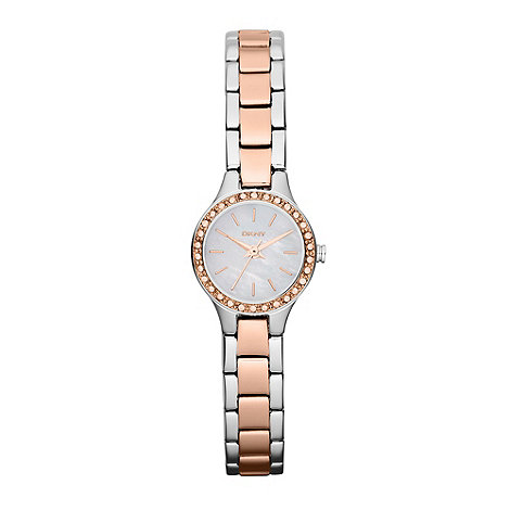 DKNY - Ladies silver and rose mother of pearl watch