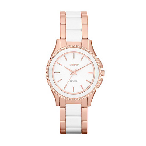 DKNY - Ladies rose and white bracelet watch