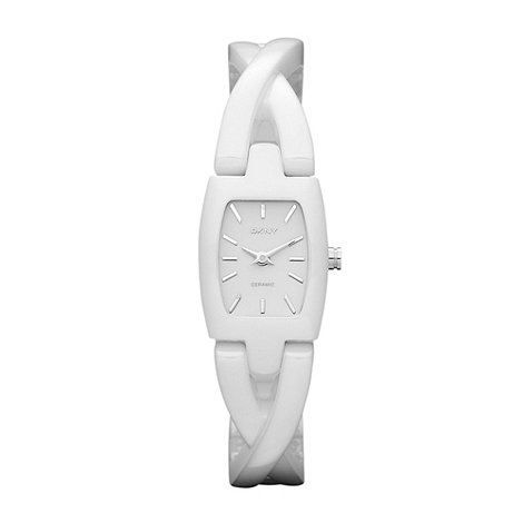DKNY - Ladies white crossed lug bracelet watch