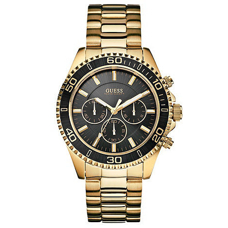 Guess - Men+s gold black dial bracelet watch