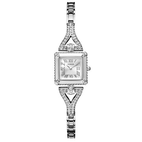 Guess - Ladies+ silver diamante square dial watch