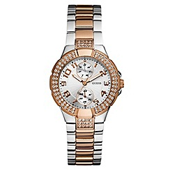 Guess - Ladies' silver and bronze bracelet watch