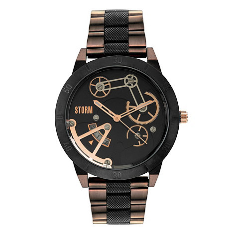 STORM London - Men+s black +mexo+ multi dial metal bracelet strap watch mexo brown