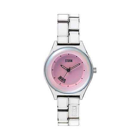 STORM London - Ladies white enamel link bracelet watch mini lazer pink