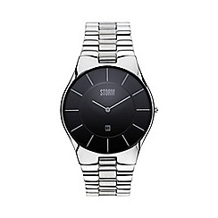 STORM London - Men's silver round dial watch slim-x xl black
