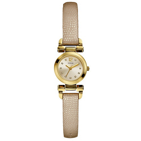 Guess - Ladies+ cream leather strap watch
