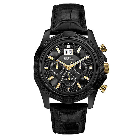 Guess - Men+s black leather strap watch