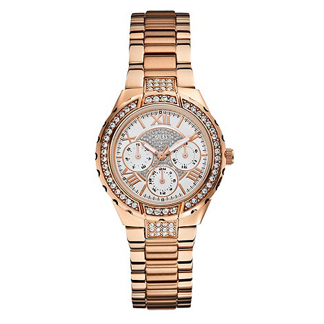 Guess - Ladies rose gold bracelet watch with crystal detailing w0111l3