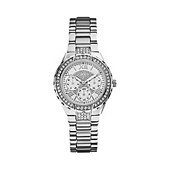Guess - Ladies silver bracelet watch with crystal detailing w0111l1