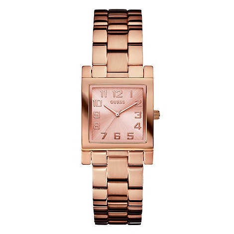 Guess - Online exclusive ladies bronze brushed square dial watch