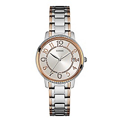 Guess - Ladies silver watch with silver & rose gold bracelet