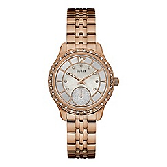 Guess - Ladies rose gold watch with mother of pearl dial and rose gold bracelet