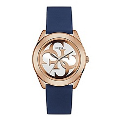 Guess - Ladies rose gold watch with white logo dial and blue silicone strap