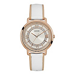 Guess - Ladies rose gold watch with white dial and white leather strap