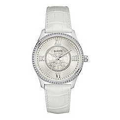 Guess - Ladies silver watch with white dial and white croc leather strap