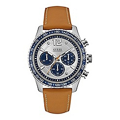 Guess - Gents silver watch with white chronograph dial and leather strap