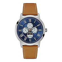 Guess - Gents silver watch with blue multifunctional dial and leather strap