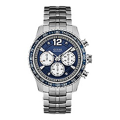 Guess - Gents silver watch with blue chronograph dial and silver bracelet