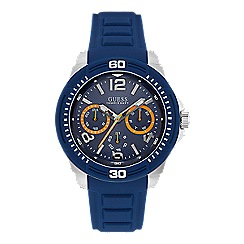 Guess - Gents silver watch with blue multifunctional dial and silicone strap