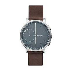 Skagen - Men's brown analog leather strap watch