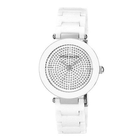 Anne Klein - Ladies gold white dial charm link bracelet watch