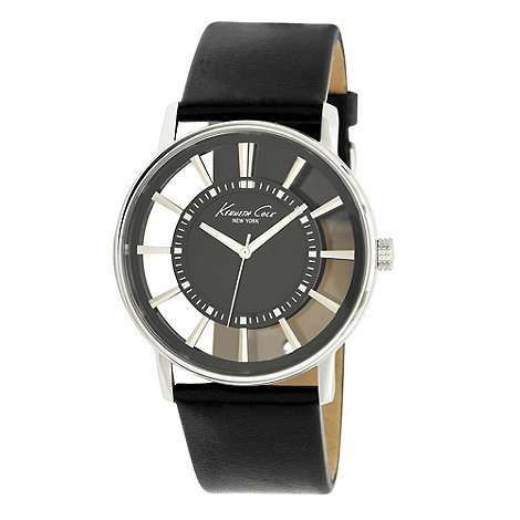 Kenneth Cole - Men+s black transparent analogue dial leather strap watch