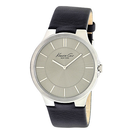 Kenneth Cole - Men+s grey slim analogue dial leather strapped watch
