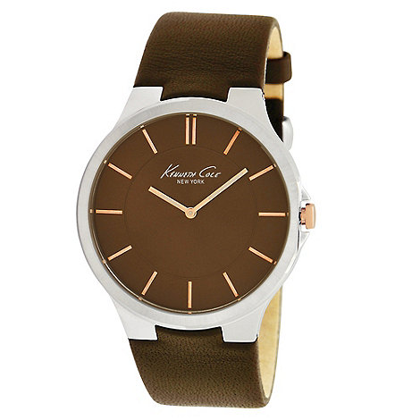 Kenneth Cole - Men+s brown slim analogue dial leather strapped watch
